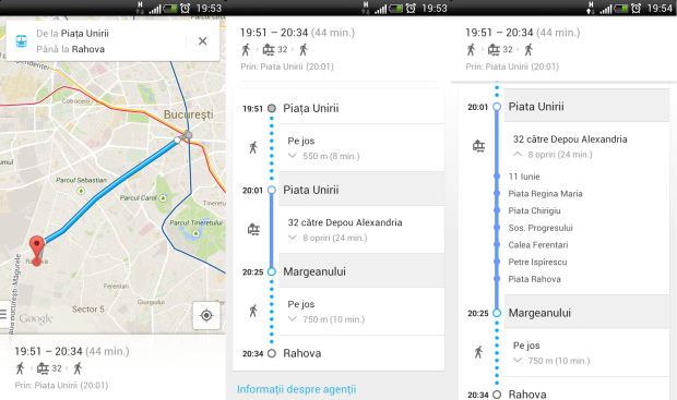 google transit, mobile, bucuresti