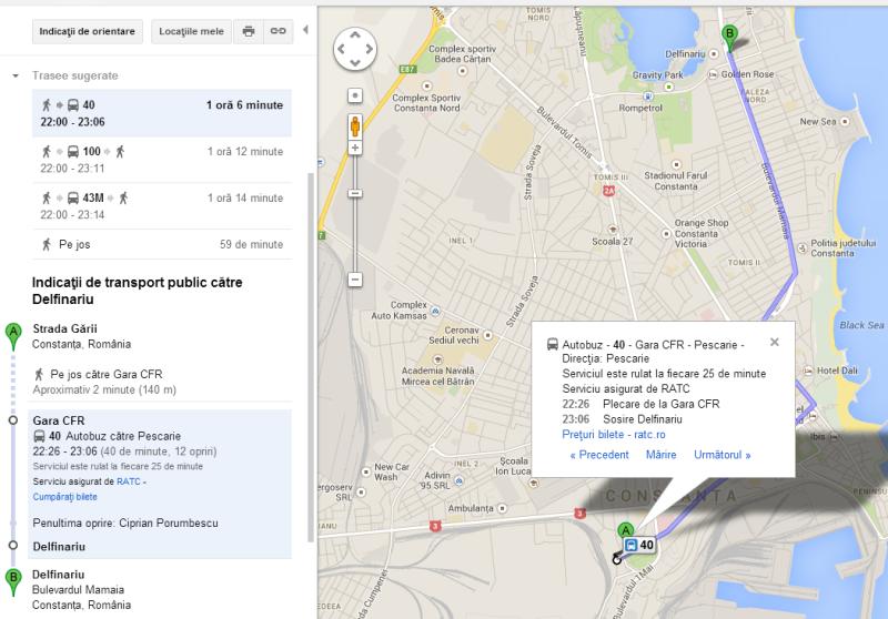 Google Transit, Constanta, google maps