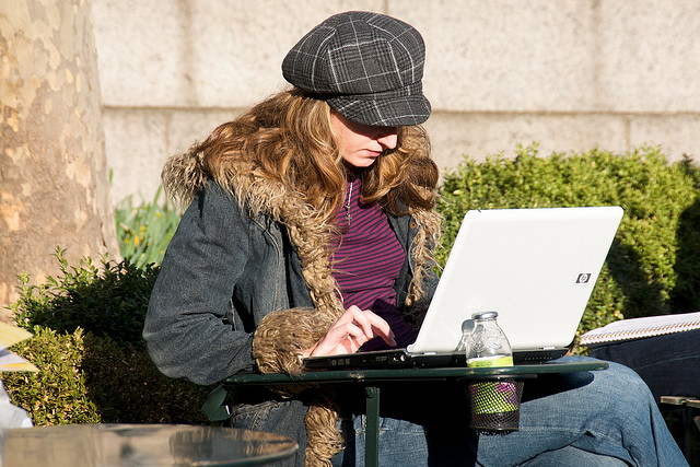 laptop, travel, girl, outdoor